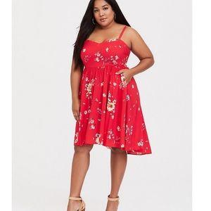 Torrid Floral Challis Hi-Low Skater dress red 0X